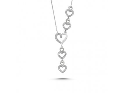 Srdíčkový romantický stříbrný náhrdelník od Olivie svatební, na ples.