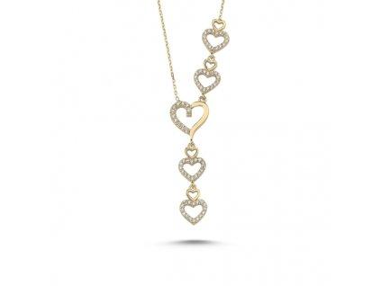 Srdíčkový stříbrný náhrdelník GOLD zlacený
