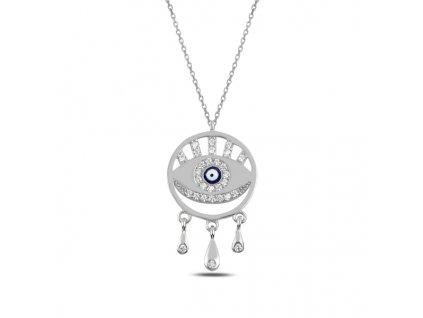 Stříbrný náhrdelník MODRÉ OKO od OLIVIE, NAZAR
