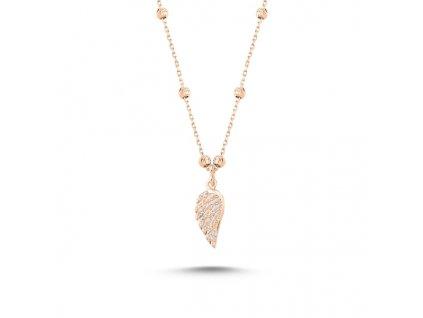 Stříbrný náhrdelník ANDĚLSKÉ KŘÍDLO ROSE růžově pozlacený