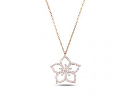 Stříbrný náhrdelník LOTOS ROSE růžově zlacený řetízek s přívěskem od OLIVIE
