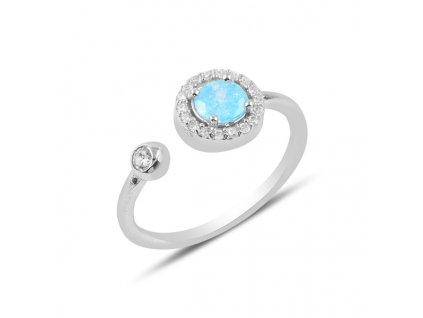 Stříbrný prsten MODRÁ STUDÁNKA, nastavitelná velikost