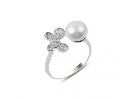 Stříbrný prsten PERLA - nastavitelná velikost, větší velikost