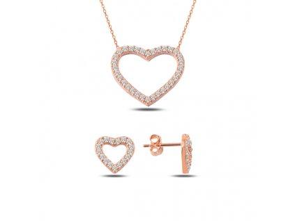Sada stříbrných šperků SRDCE ROSE růžově zlacená