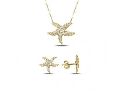 Sada stříbrných šperků HVĚZDICE GOLD zlacená