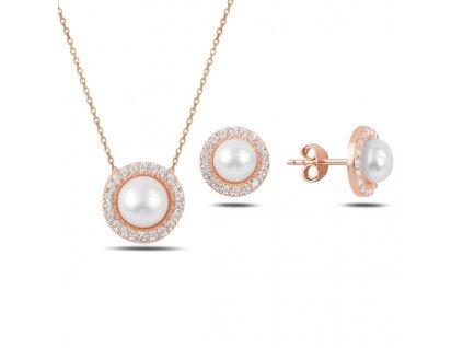 Sada stříbrných šperků ROSE PERLA růžově zlacená