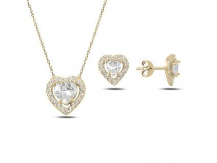 Sada stříbrných šperků ZLATÉ SRDCE zlacená souprava