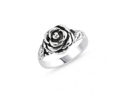 Stříbrný prsten RŮŽE od OLIVIE, kamenný prsten, stříbro