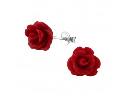 Stříbrné náušnice ROZÁRIE červená růže