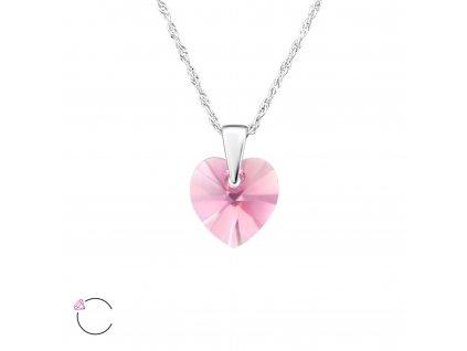 Stříbrný náhrdelník SRDCE ROSE Swarovski od OLIVIE