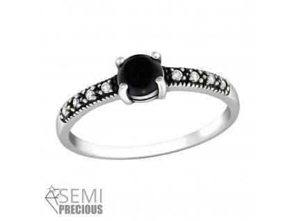 Stříbrný prsten ČERNÝ ONYX