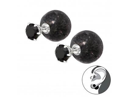 Stříbrné dvojité náušnice s ledovou koulí BLACK