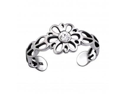 Stříbrný květinový prsten na nohu od OLIVIE