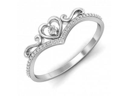 Srdíčkový stříbrný prstýnek