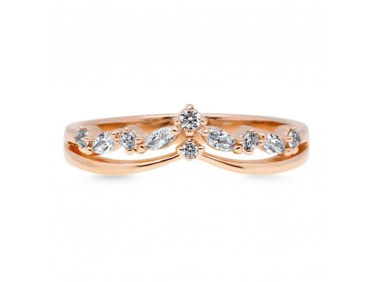 Stříbrný prsten ROSE růžově zlacený od OLIVIE