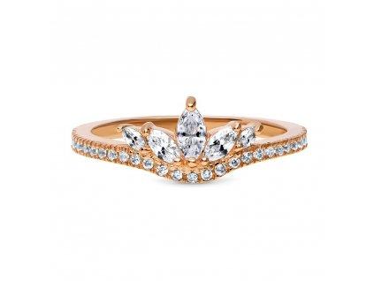 Stříbrný prsten ROSE růžově zlacený od OLIVIE. Překrásný prstýnek.