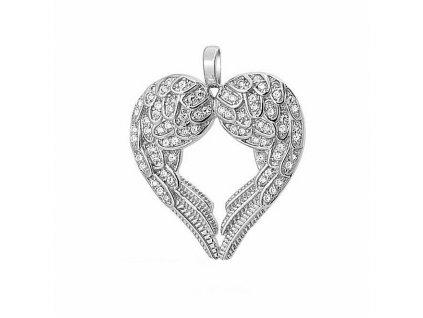 ANDĚLSKÉ SRDCE stříbrný náhrdelník, dárek k Vánocům, narozeninám, Valentýnu. OLIVIE. Andělská křídla šperk.