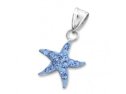 Stříbrný modrý přívěsek hvězdice