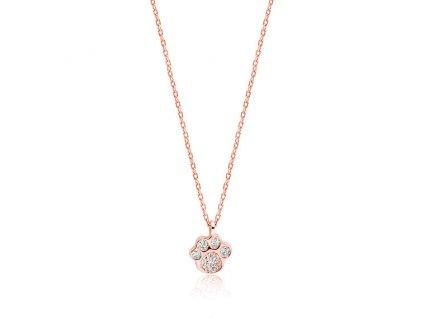 Stříbrný řetízek ROSE TLAPKA růžově zlacený náhrdelník od OLIVIE