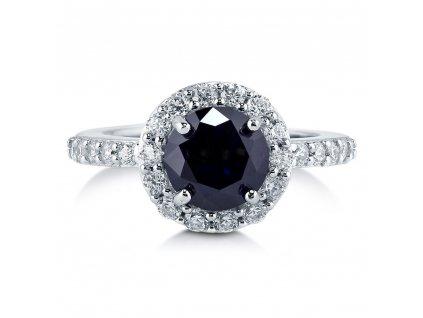 Stříbrný luxusní prsten GRAND s modrým zirkonem od OLIVIE
