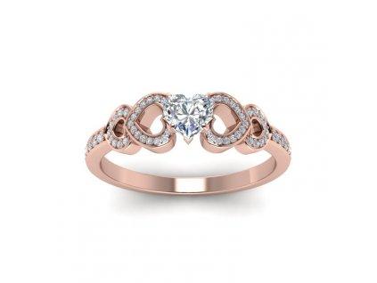 Stříbrný prsten SRDCE ROSE, růžově zlacený se zirkony od OLIVIE