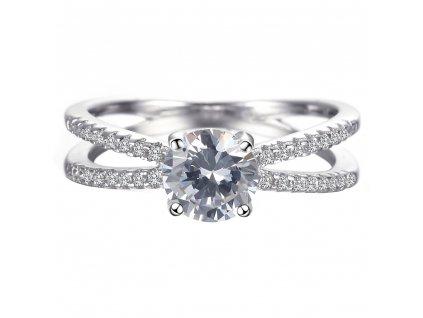 Stříbrný rhodiovaný prsten překřížený. OLIVIE.