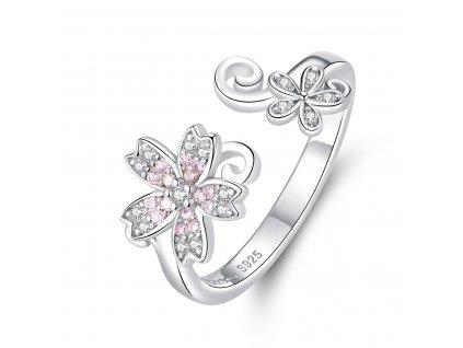 Stříbrný nastavitelný prsten NĚŽNÝ KVĚT od OLIVIE