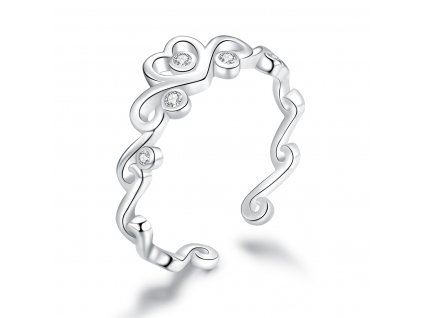 Stříbrný prsten LÁSKA, nastavitelná velikost. OLIVIE.