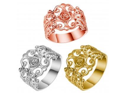 FILIGRÁN stříbrný rhodiovaný široký prsten pro tlusté prsty od OLIVIE. Zdobený růžičkou.