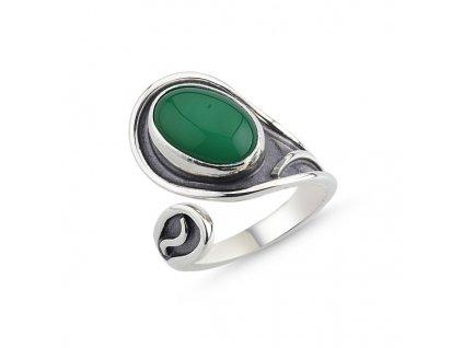 Stříbrný prsten zelený ACHÁT od OLIVIE