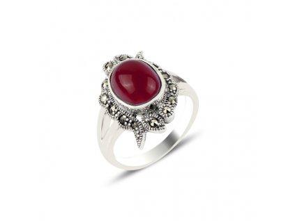 Prsten z červeného achátu a markazitu, oranžovo hnědý od OLIVIE