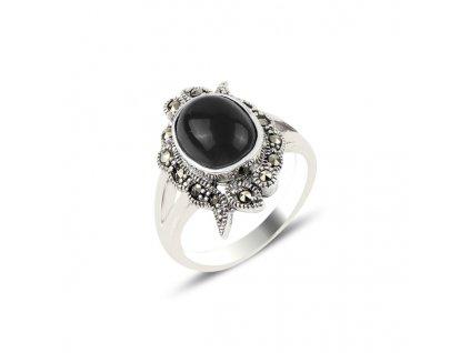 Masivní stříbrný prsten černý ONYX a MARKAZIT od OLIVIE