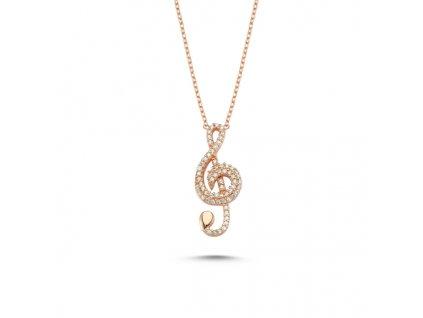 Stříbrný náhrdelník HOUSLOVÝ KLÍČ ROSE růžově zlacený od OLIVIE