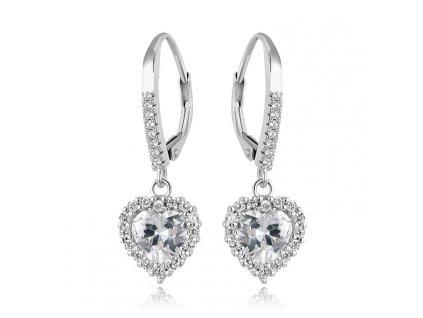 Stříbrné visací náušnice SRDÍČKA od OLIVIE. Vhodné jako dárek k výročí, narozeninám, Valentýnu nebo k dennímu nošení.