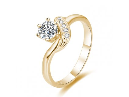 Stříbrný zásnubní prsten GOLD pozlacený od OLIVIE. Krásný dárek z lásky.