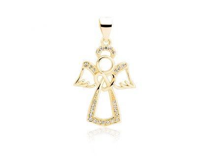 Stříbrný pozlacený přívěsek ANDĚL GOLD se zirkony od OLIVIE