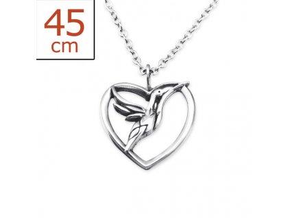 Stříbrný řetízek srdce s holubicí OLIVIE.CZ