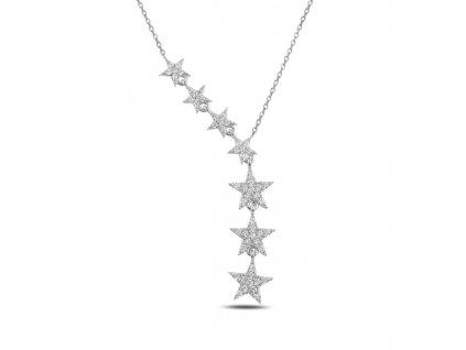 PADAJÍCÍ HVĚZDY stříbrný svatební náhrdelník od OLIVIE