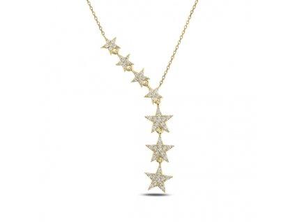 PADAJÍCÍ HVĚZDY GOLD stříbrný náhrdelník od OLIVIE