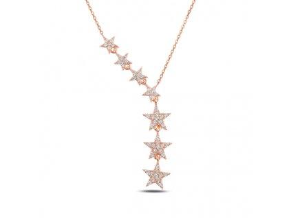 PADAJÍCÍ HVĚZDY ROSE stříbrný náhrdelník růžově pozlacený