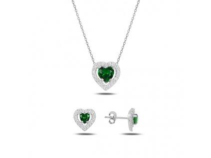 Stříbrná sada šperků SMARAGDOVÉ SRDCE od OLIVIE