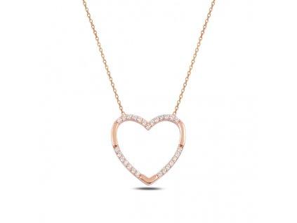 Stříbrný náhrdelník RŮŽOVÉ SRDCE od OLIVIE