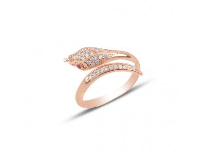 Stříbrný prsten RŮŽOVÝ HAD růžově pozlacený od OLIVIE