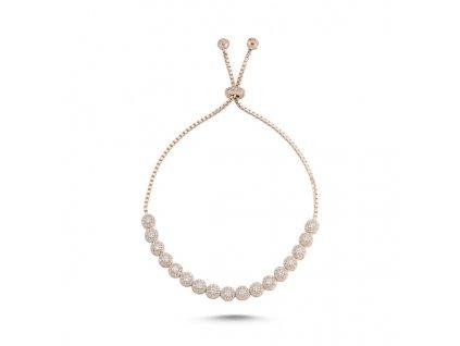 Stříbrný náramek ROSE se zirkony růžově zlacený nastavitelný od OLIVIE