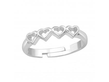 MIDI prsten, dětský stříbrný prstýnek 4 srdíčka