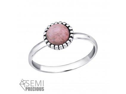 Dětský stříbrný prstýnek RHODONITE, MIDI prsten
