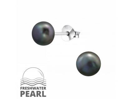 Stříbrné náušnice s perlou TAHITI 6 mm