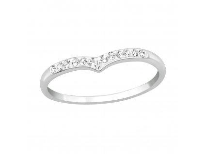 Stříbrný prstýnek ŠIPKA s krystalky