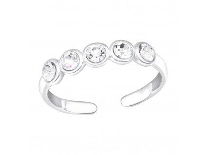 Stříbrný prstýnek s 5 krystalky dětský, MIDI.