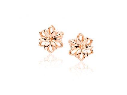Květinové stříbrné náušnice ROSE růžově zlacené od OLIVIE